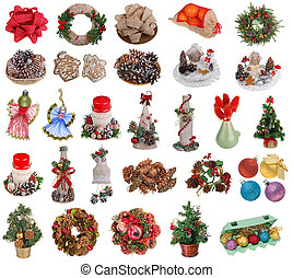 Christmas and New Year's homemade objects and decorations isolated
