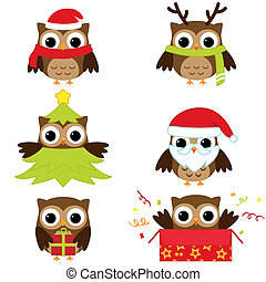 owls - Christmas and New Year's owls in funny costumes -...