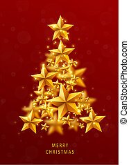 Christmas and New Years red background with Christmas Tree made of golden stars.
