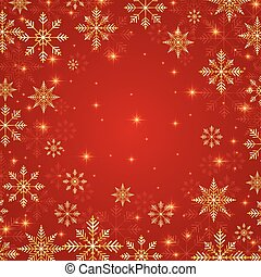Christmas and New Years red background  with golden snowflakes. Vector illustration