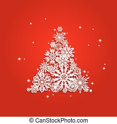 Christmas and New Years red background with Tree