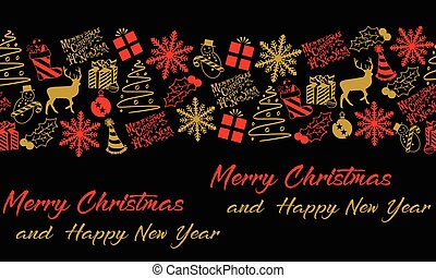 Christmas and New Years seamless pattern background.