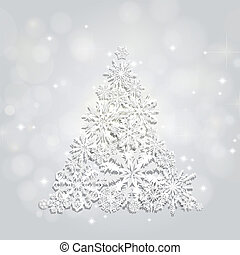 Christmas and New Years silver background with Tree