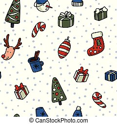 Christmas and New Yyear doodles seamless pattern. Set of winter holidays signs and symbols - christmas ball, snowman, fir tree, cocoa etc.