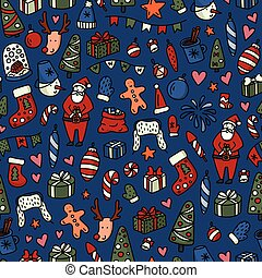 Christmas and New Yyear doodles seamless pattern. Set of winter holidays signs and symbols - Santa Claus, christmas ball, snowman, fir tree, cocoa etc.
