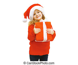 Christmas and people concept - smiling little girl in santa hat