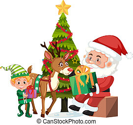 Christmas and santa on white background