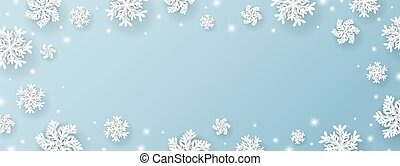 Christmas and winter banner design of snowflake and snow with lights on blue background vector illustration