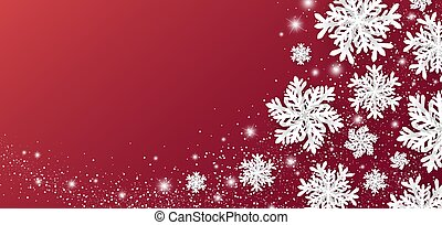 Christmas and winter banner design of snowflake and snow with lights on red background vector illustration