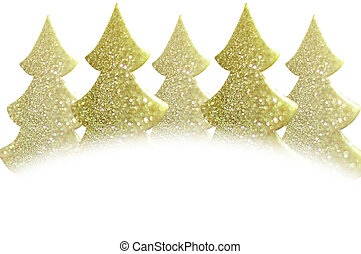 Golden christmas tree glitter on white background