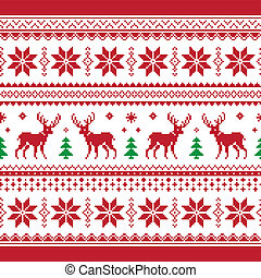 Christmas and Winter knitted seamle - Red and green Xmas...