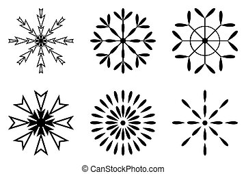 Christmas and winter - Set of black snowflakes icon, vector