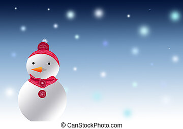 Christmas And Winter Snowman on a blurred background.