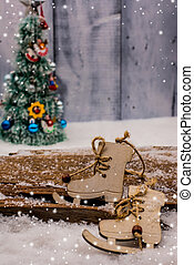 Christmas and Xmas decoration with snow in Winter