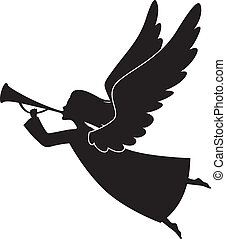 Christmas angel - A silhouette of a Christmas Angel Blowing...