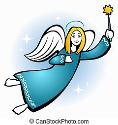 christmas angel - Stylized flying Christmas angel with star...