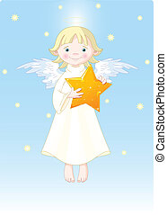 Christmas Angel - Cute Angel with Christmas star in his...