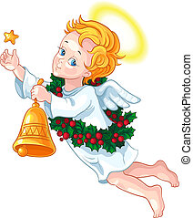 Christmas angel with a star, a bell and a wreath of holly