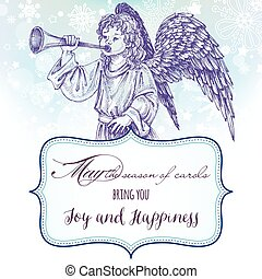 Christmas angel greeting card with frame for text