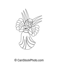 Christmas angel illustration coloring page