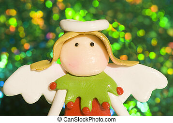 Christmas Angel in bright green background