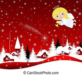 Christmas Angel in the sky on Christmas Eve