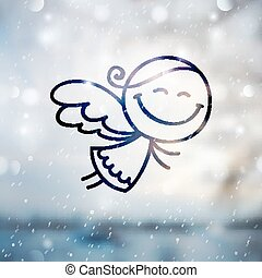 christmas angel on blurred backround