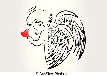 Christmas Angel praying with a love heart icon logo
