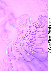 Christmas angel with trumpet soft background