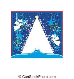 Christmas Angels. Christmas religious nativity scene card