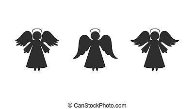 Christmas angels silhouettes. Isolated on white. Vector