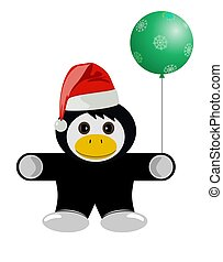 Christmas animal. Penguin. Cartoon vector illustration
