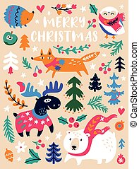 Christmas animals and trees illustration in decorative style
