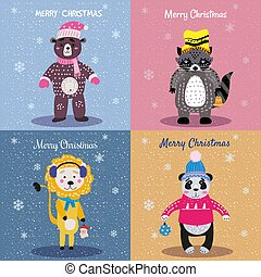 Christmas Animals Card Set cute bear, lion, panda, raccoon. Hand drawn collection characters illustration vector isolated