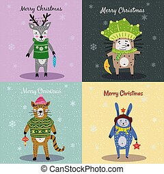 Christmas Animals Card Set cute cat, hedgehog, deer, rabbit. Hand drawn collection characters illustration vector isolated