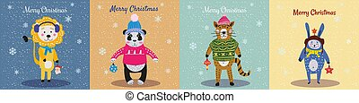 Christmas Animals Card Set cute cat, lion, pand, rabbit. Hand drawn collection characters illustration vector isolated