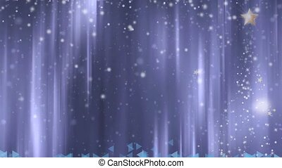 Christmas animated background with tree, star and snow