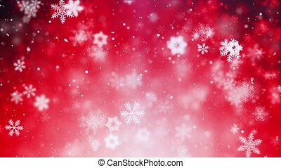 Christmas Animation Background red Theme With Snowflakes Falling In Elegant