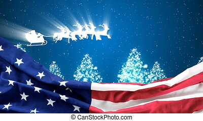 Christmas animation of American flag and reindeer sleigh riding in the sky 4k