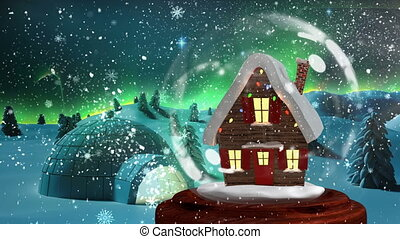 Christmas animation of Christmas house in snowy landscape 4k