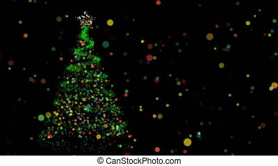 Christmas animation of pine tree and bokeh lights