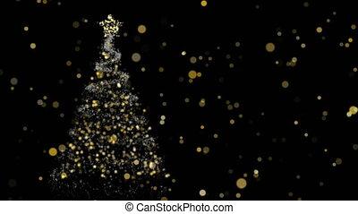 Christmas animation of pine tree and gold lights