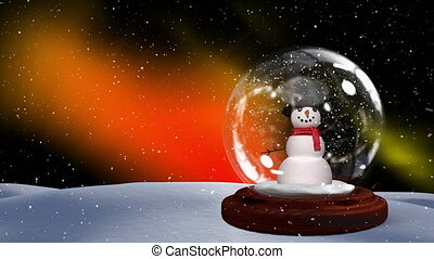 Christmas animation of snowman couple on snowy landscape 4k