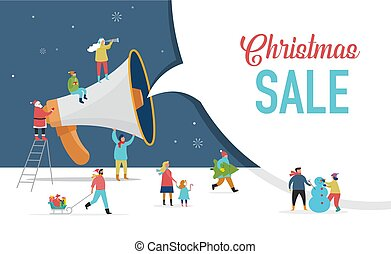 Christmas announcement, Merry christmas, Happy new year background, sale banner with scene of miniature people
