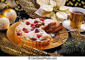christmas apple pie  with cranberry and coffee  in glamour style