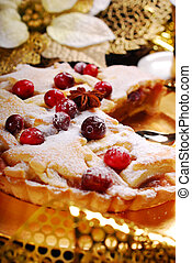 christmas apple pie  with cranberry in glamour style