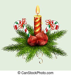 Christmas arrangement of fir green branches, balls, a burning candle and two staffs with red ribbons.