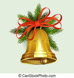 Christmas arrangement of spruce green branches and a golden bell with a red bow