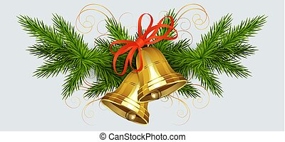 Christmas arrangement of spruce green branches and bells of golden hue with a red bow