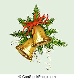 Christmas arrangement of spruce green branches, two bells of golden hue with a red bow.